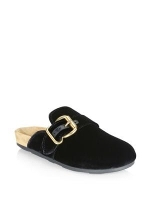 Velvet Buckle Slides by Prada