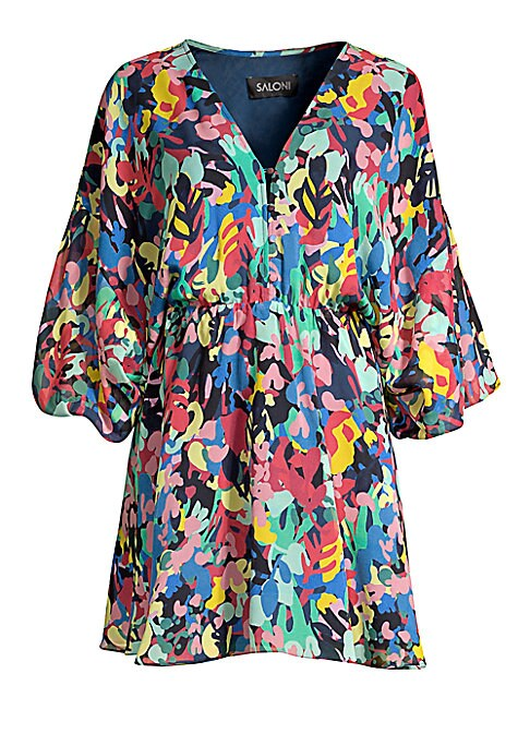 """Image of From the Saks It List: Garden Party Florals. Silk V-neck mini dress in colorful print. V-neck with button closure. .Three-quarter sleeves. Pullover style. About 34"""" from shoulder to hem. Silk. Dry clean. Imported. .Model shown is 5'10"""" (177cm) wearing US"""