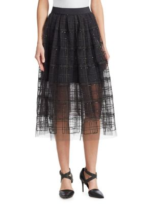 BRUNELLO CUCINELLI Sequin-Embellished Embroidered Tulle Midi Skirt in Gray