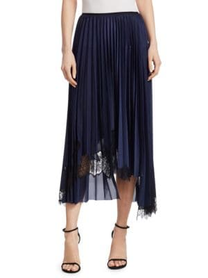 Asymmetric Chantilly Lace-Trimmed Pleated Satin Midi Skirt in Blue