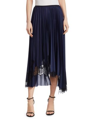 Asymmetric Chantilly Lace-Trimmed Pleated Satin Midi Skirt, Blue