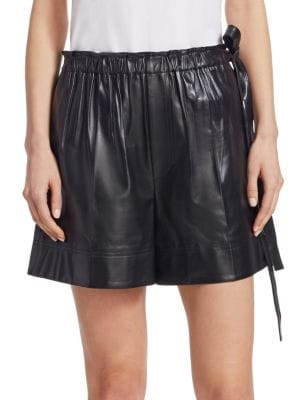 Paperbag Drawstring Waist Leather Shorts, Black
