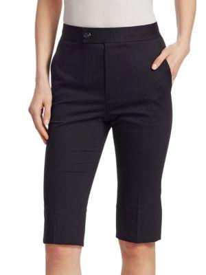 Slim Split-Hem Cotton Bermuda Shorts in Black