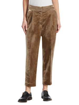 BRUNELLO CUCINELLI Crushed Velvet Pleated Pants in Pink