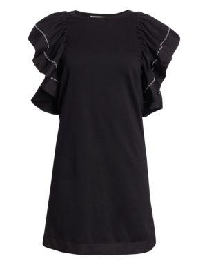 See By Chloe Black Ruffled Dress in 001 Black