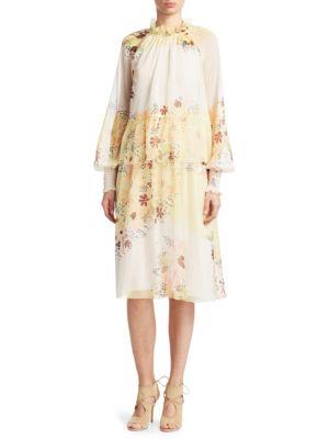 Tiered Floral-Print Georgette Dress, Multi