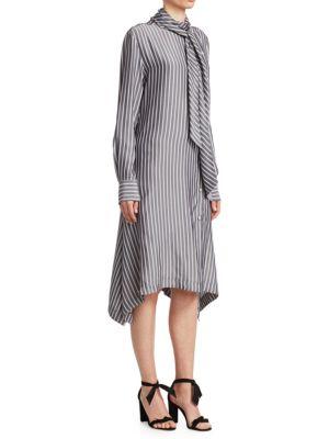Asymmetric Pussy-Bow Striped Crepe De Chine Midi Dress in Gray