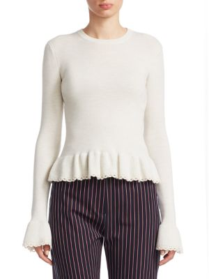 See By Chloe White Ruffled Wool Sweater in Neutrals