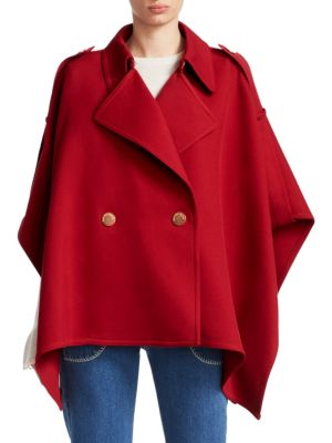 Asymmetric Cotton-Blend Twill Cape, Dusky Red