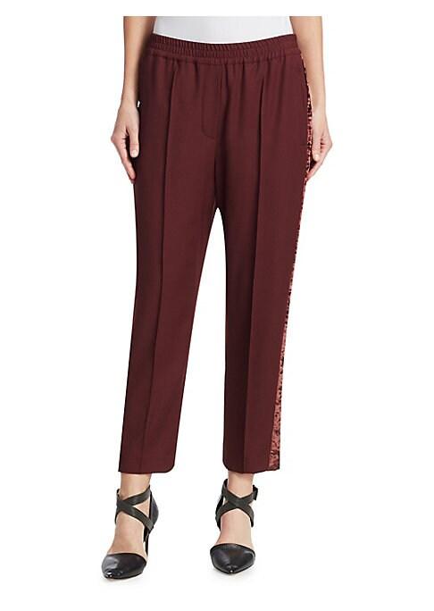 Image of These trousers are a happy marriage between menswear's slack and the athletic world's track pant. Velvet side stripes mimic the pleated front and make the pants feel ultra luxurious. Elasticized waist. Faux fly. Pull-on style. Side welt pockets. Back welt