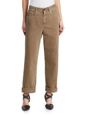 Garment-Dye Denim Pants With Monili 4-Track Side Detail, Nutmeg