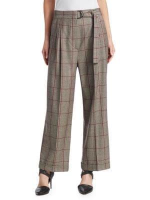BRUNELLO CUCINELLI Wide-Leg Pleated Plaid Wool Pants W/ D-Ring Belt in Neutrals