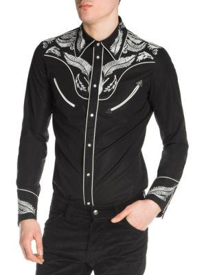 DSQUARED2 Men'S Embroidered Twill Western Shirt in Blue
