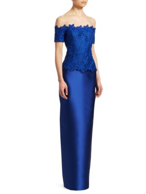 Off The Shoulder Column Gown by Teri Jon By Rickie Freeman