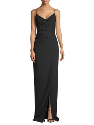 Bowery V-Neck Gown, Black