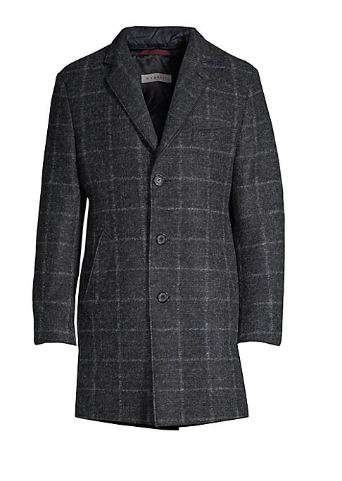 Image of From the Saks IT LIST. STATEMENT OUTERWEAR. Yes, you need a new coat for every destination. Sharp wool-blend coat with an allover check pattern and removable puffer vest. Notch lapels. Long sleeves. Three-button front. Chest besom pocket. Waist welt pocke
