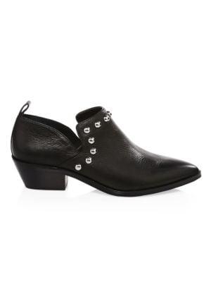 REBECCA MINKOFF Women'S Katen Studded Leather Low Heel Booties in Black