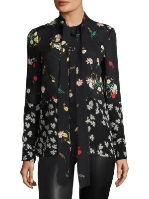 Derek Lam Mixed Floral Tie-neck Silk Blouse In Ivory Multi