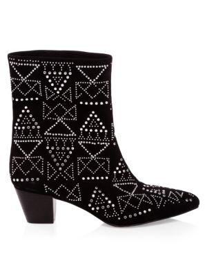 Women'S Hessania Studded Suede Mid-Heel Booties in Black from REBECCA MINKOFF