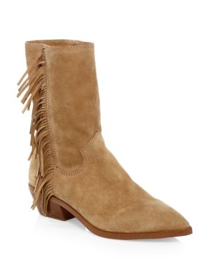Krissa Fringe Western Boots, Beige Split Suede