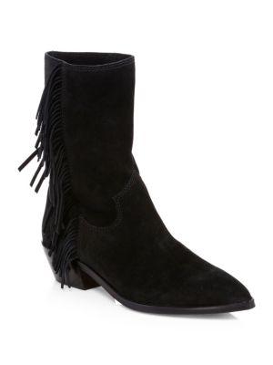 Women'S Krissa Suede Fringe Low-Heel Boots, Black Split Suede