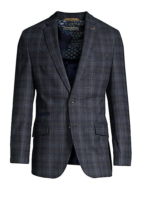 """Image of Classic sport jacket in an allover check. Notched lapels. Long sleeves. Buttoned front. Two front flap pockets. One front welt pocket. About 30.75"""" from shoulder to hem.45% wool/25% polyester/15% acrylic. Dry clean. Imported."""