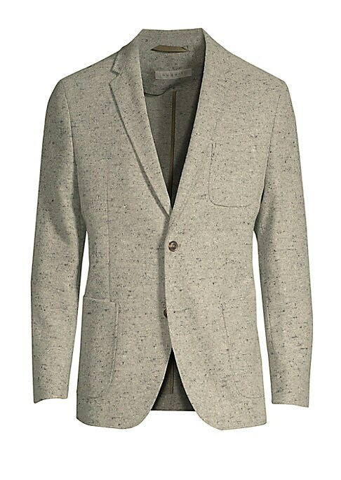 """Image of Easy-to-wear blazer with patch pocket detailing. Notch lapels. Long sleeves. Buttoned cuffs. Two-button front. Front patch pockets. Dual back vents. About 30.75"""" from shoulder to hem. Polyester/acrylic/wool. Dry clean. Imported."""