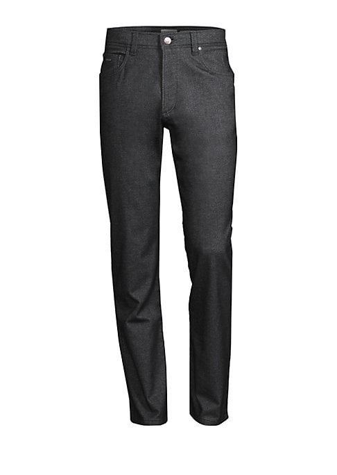 """Image of Classic five-pocket style with two-tone texture. Five-pocket style. Zip fly. Rise, about 11.5"""".Inseam, about 34"""".Leg opening, about 15.25"""".Cotton/polyester/viscoseelastane. Dry clean. Imported."""