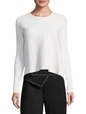 DEREK LAM Asymmetric Rib-Knit Sweater - White Size S