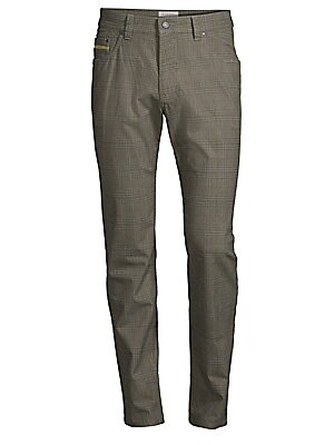 "Image of Modern glen check pant with a hint of stretch Five-pocket style Zip fly Modern fit Rise, about 10.5"" Inseam, about 34"" Leg opening, about 14"" Cotton/polyester/elastane Dry clean Imported. Men Luxury Coll - Designer Clothing. Bugatti. Color: Navy. Size: 34"