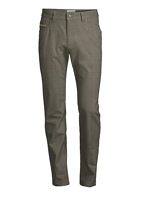 "Image of Modern glen check pant with a hint of stretch. Five-pocket style. Zip fly. Modern fit. Rise, about 10.5"".Inseam, about 34"".Leg opening, about 14"".Cotton/polyester/elastane. Dry clean. Imported."