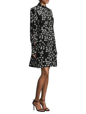 DEREK LAM Tie-Cuffs Button-Front Floral-Print Silk Shirtdress W/ Pleating in Black Ivory