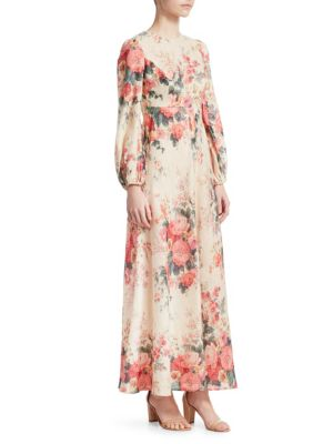 Laelia Floral-Print Linen Maxi Dress, Meadow Floral