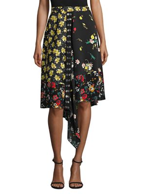 Mixed Botanical-Print Asymmetric Silk Skirt in Black from Derek Lam