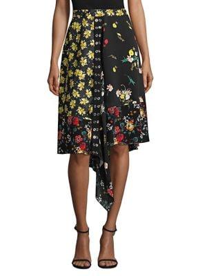 DEREK LAM Mixed Botanical-Print Asymmetric Silk Skirt in Black