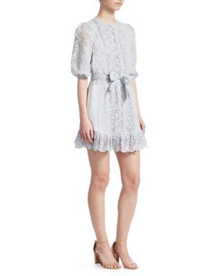 Iris Scallop Front Short Dress, Light Blue