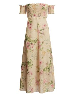 Iris Shirred Bodice Floral Maxi Dress by Zimmermann
