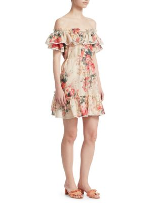 Laelia Off-The-Shoulder Floral-Print Frill Tier Mini Dress, Meadow Floral