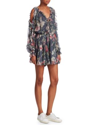 Iris Cold-Shoulder Floral-Print Silk-Georgette Playsuit, Charcoal Floral