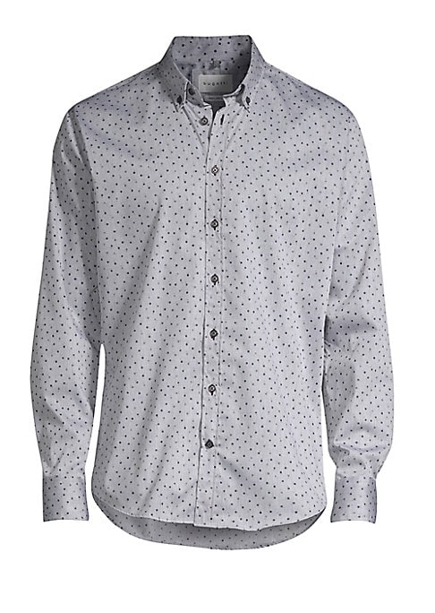Image of Crisp button-down with miniature floral print. Point collar. Long sleeves. Button placket. Button barrel cuffs. Shirttail. Cotton. Dry clean. Imported.