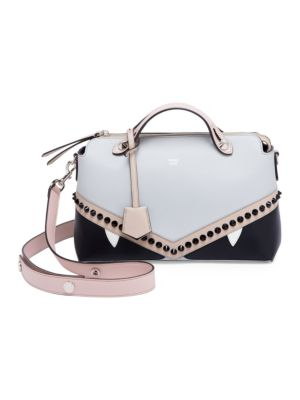 Nude Pink And Brown Colour Block Monster By The Way Leather Shoulder Bag, Cloud