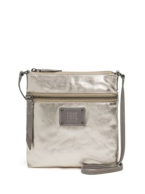 Ivy Metallic Nylon Crossbody Bag - Grey, Pewter