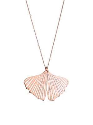 GINETTE NY Gingko 18K Rose Gold Cutout Pendant Necklace