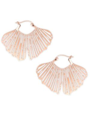 GINETTE NY Gingko 18K Rose Gold Cut-Out Hoop Earrings