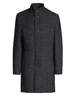 c7a798728764 Bugatti. Plaid Wool-Blend Coat