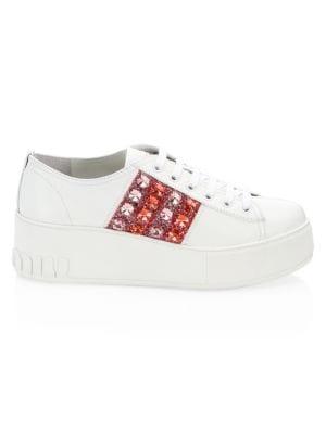 Jewel Stripe Platform Sneakers by Miu Miu