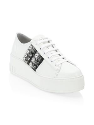 Leather Platform Sneakers With Jeweled Stripes, Silver