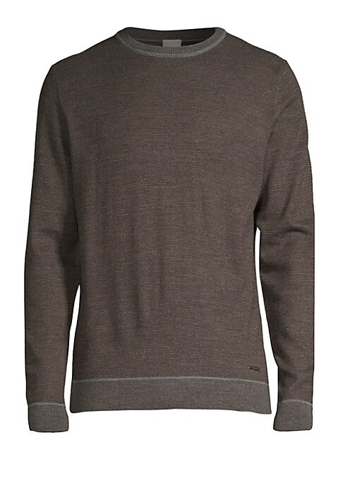 """Image of Easy wool-blend pullover in two-tone knit. Crewneck. Long sleeves. About 27.5"""" from shoulder to hem. Wool/polyacrylic. Dry clean. Imported."""