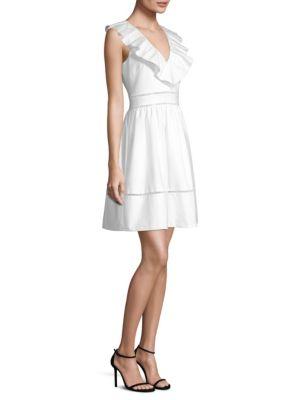 4b88f775d31 Kate Spade Sleeveless Ruffle Neck Stretch Cotton Dress In Fresh White