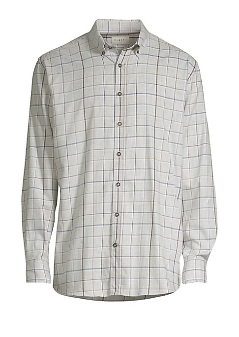 Image of Breathable cotton button down with a crisp check print. Button down point collar. Long sleeves. Button placket. Button barrel cuffs. Shirttail. Cotton. Dry clean. Imported.